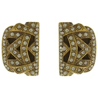Eclectica Vintage 1980S Ferragamo Gold Plated Swarovski Crystal Clip On Earrings Gold