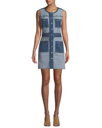 7 For All Mankind Inside Out Button Front Sleeveless Denim Dress Blue