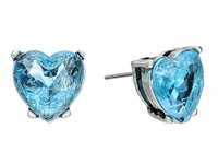 Betsey Johnson Lady Lock Crackle Heart Stud Earrings Blue Earring