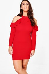 Boohoo Plus Ava Crepe Ruffle High Neck Bodycon Dress Red