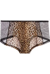 Cosabella Q Of Spades Low Rise Mesh Paneled Leopard Print Stretch Jersey Briefs Leopard Print