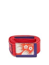 Etro Floral Printed Ribbed Cotton Tie Belt Red