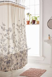 Plum And Bow Scattered Flowers Shower Curtain Ivory
