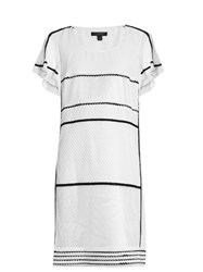 Burberry Contrast Trim Scoop Neck Dress White Black
