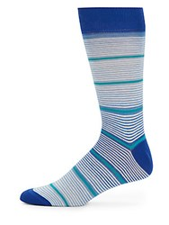 Saks Fifth Avenue Made In Italy Striped Cotton Blend Socks Light Blue