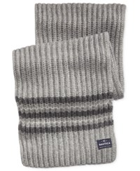 Nautica Men's Striped Knit Scarf Medium Grey Heather Multi