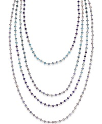 C.A.K.E. By Ali Khan Silver Tone Purple And Blue Bead Four Row Long Necklace