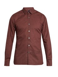 Lanvin Paisley Print Slim Fit Cotton Shirt Red Multi