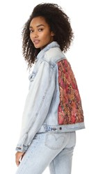 Free People Paisley Quilted Denim Jacket Light Denim