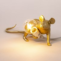 Seletti Mouse Lamp Lying Down Gold