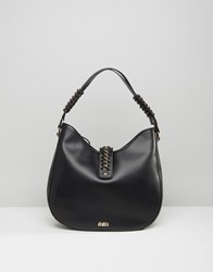 Faith Simple Hobo Bag With Chain Detail Black