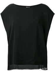 Kristensen Du Nord Sheer Trim Loose Fit Blouse Black
