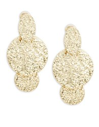 Oscar De La Renta Goldtone Hammered Metal Disc Drop Clip On Earrings