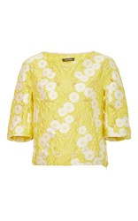 Zac Posen Margarite Fil Coupe Three Quarter Length Sleeve Top Yellow