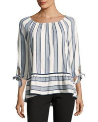 Neiman Marcus Boat Neck Striped Blouse Blue Pattern