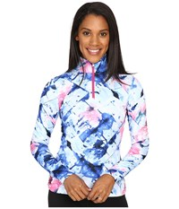 Spyder Collection T Neck Top Frozen Bling Print Women's Long Sleeve Pullover Blue
