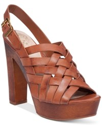 Vince Camuto Elyza Platform Sandals Women's Shoes Summer Cognac