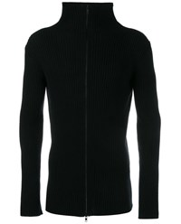 Ann Demeulemeester Wool Cashmere Blend Ribbed Zipped Sweater Black Grey