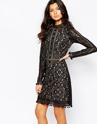 For Love And Lemons Florence Cocktail Dress With Long Sleeves Black