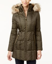 Inc International Concepts Faux Fur Trim Quilted Puffer Coat Only At Macy's Military Green