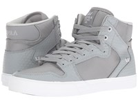 Supra Vaider Grey Leather White Skate Shoes Gray