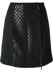 Emporio Armani Textured Panel Mini Skirt Black