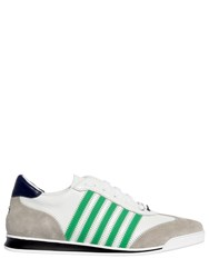 Dsquared New Runner Leather And Suede Sneakers White Green