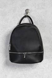 Forever 21 Zip Faux Leather Backpack Black