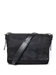 Valentino Leather Trim Camo Messenger Bag Black Army