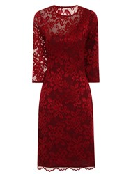 Hotsquash One Sleeved Lace Dress In Clever Fabric Red