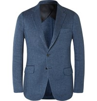 Mp Massimo Piombo Blue Slim Fit Herringbone Flax Blazer