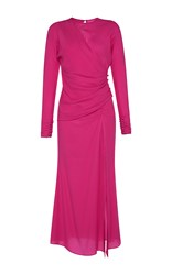 Alessandra Rich Long Sleeve Silk Draped Dress Fuchsia