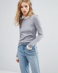 New Look Contrast Trim Jumper Grey