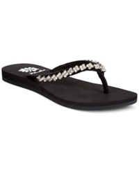 Yellow Box Ava Rhinestone Thong Sandals Women's Shoes Black