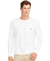 Polo Ralph Lauren Long Sleeved Jersey Pocket Crewneck White