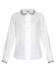 Jupe By Jackie Nellie Embroidered Trim Linen Shirt White
