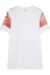 Giambattista Valli Silk Chiffon Paneled Cotton T Shirt