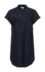 Frame Denim Suede Lace Up Blouse Navy