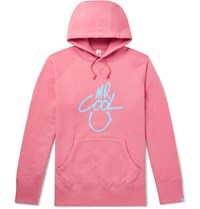 Beams Plus Loopwheeler Printed Loopback Cotton Jersey Hoodie Pink