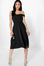 Boohoo One Shoulder Side Split Midi Skater Dress Black