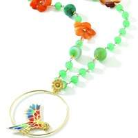 Misis Parrot Necklace Green Agate Aventurine And Cornelian Flowers