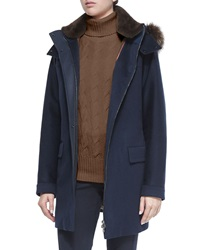 Loro Piana Roger Storm System Fur Trimmed Cashmere Woven Coat
