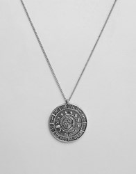 Asos Zodiac Coin Necklace In Burnished Silver Silver
