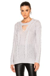 Prabal Gurung Cashmere Silk Knit V Neck Fisherman Pullover In Gray