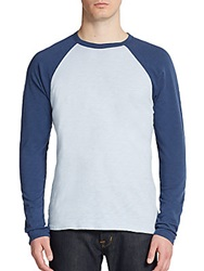 Saks Fifth Avenue Red Cotton Baseball Tee Blue