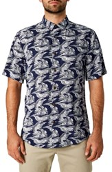 7 Diamonds Up Stream Trim Fit Sport Shirt Navy
