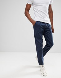 D Struct Elastic Waist Cropped Chino Trousers Navy