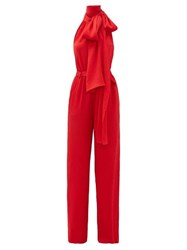 Roland Mouret Crossbill Hammered Silk Blend Jumpsuit Red