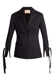 Brock Collection Jadine Single Breasted Cotton Drill Blazer Navy