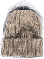 Ca4la Star Embellished Knitted Hat Nude And Neutrals